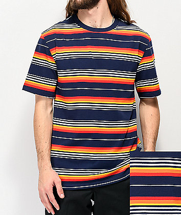 Empyre Hazy Navy & Orange Striped T-Shirt