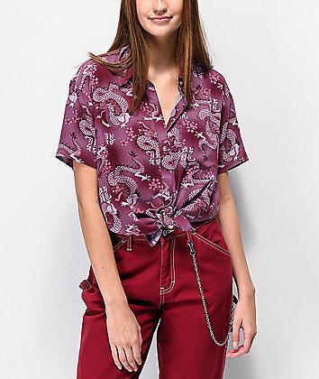Empyre Hilo Dragons Blackberry Short Sleeve Button Up Shirt