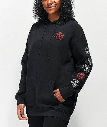Empyre Jasmine Rose Sleeve Black Hoodie