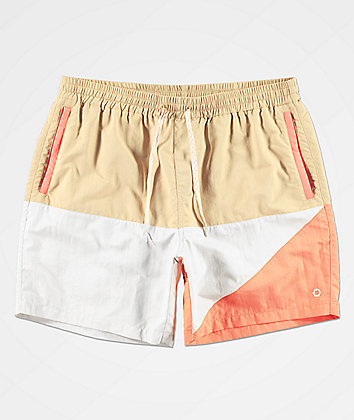 Empyre Lifeboat Peach, Khaki & White Board Shorts