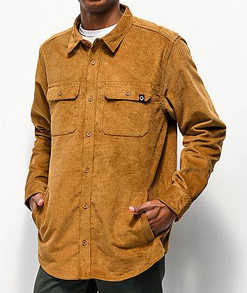 Empyre Luke Brown Corduroy Woven Long Sleeve Shirt