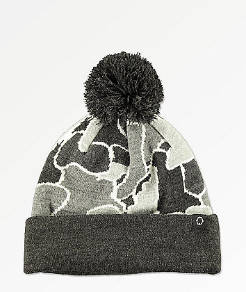 Empyre Pieces Grey Camo Pom Beanie
