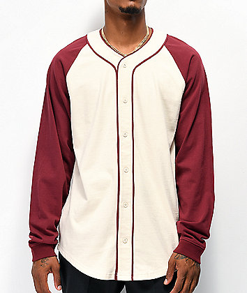 Empyre Sammy Cream & Burgundy Long Sleeve Baseball Jersey