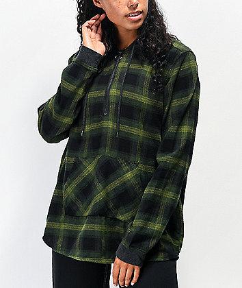 Empyre Spruce Green Half Zip Hooded Flannel Shirt
