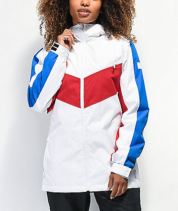 Empyre Stacey Red, White & Blue Colorblock 10K Snowboard Jacket