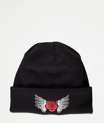 Empyre Wing Rose Black Beanie