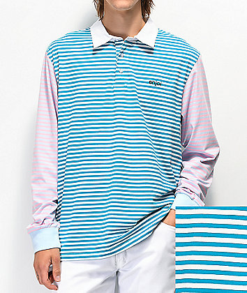 Enjoi Confused Teal and Pink Stripe Long Sleeve Polo T-Shirt