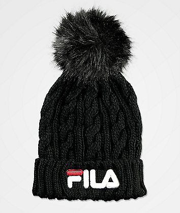 FILA Cable Knit Black & White Pom Beanie