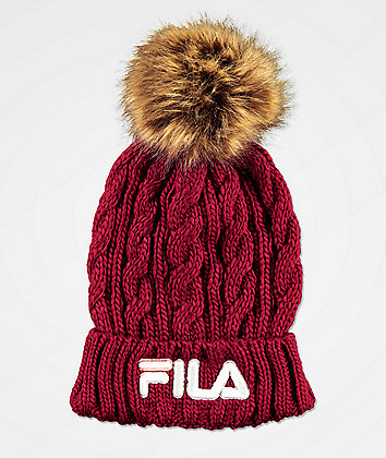 FILA Cable Knit Red Pom Beanie