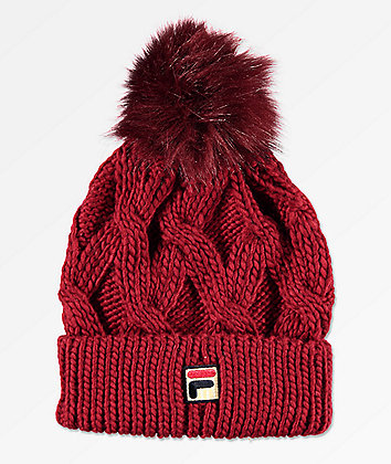 FILA Heritage Cable Knit Red Pom Beanie