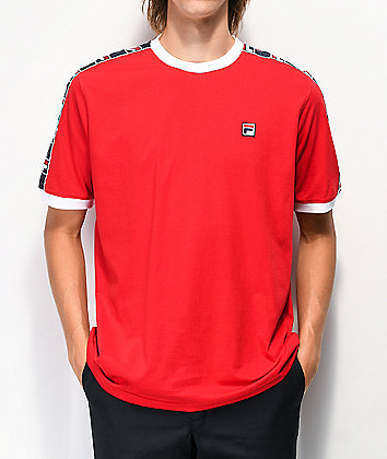 FILA Luca Taped Red Knit T-Shirt