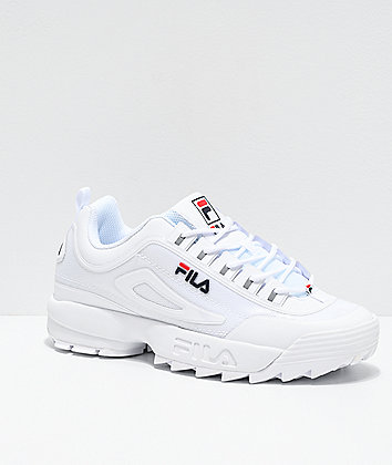 FILA Men's Disruptor II No-Sew White, Navy & Red Shoes