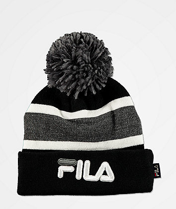 FILA Peacoat Grey & Black Striped Pom Beanie