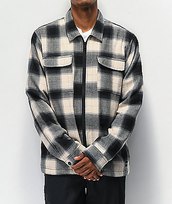 FRESHHELL Sherpa Tan & Black Zip Flannel Shirt