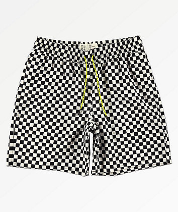 Fairplay Boardy Neon Checkered Black & White Elastic Waist Board Shorts