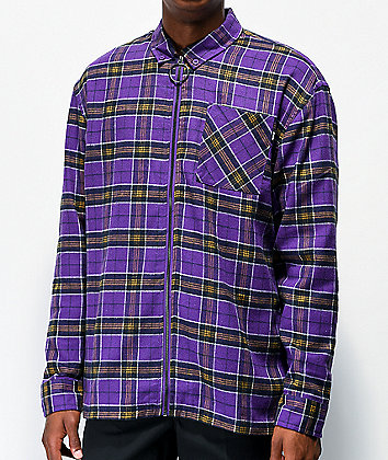 Fairplay Ozias Purple Zip Flannel Shirt