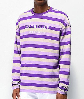 Fairplay Rudy Purple Stripe Knit Long Sleeve T-Shirt