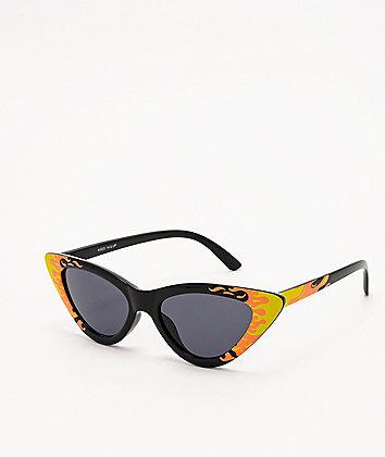 Flames Cat Eye Black Sunglasses
