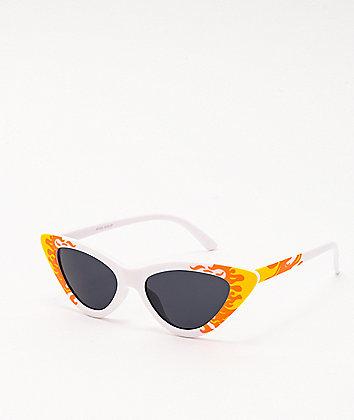 Flames Cat Eye White Sunglasses
