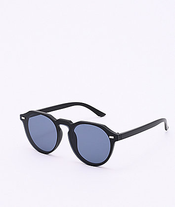 Frameless Black Round Sunglasses