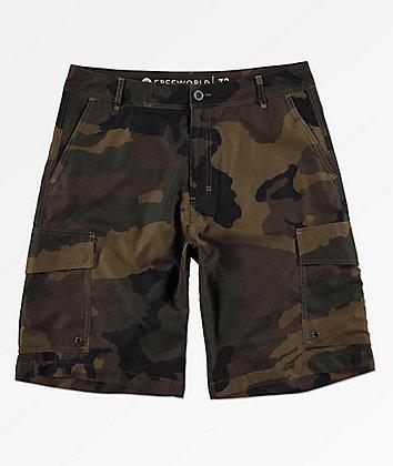 Free World Smashing Camo Cargo Hybrid Shorts