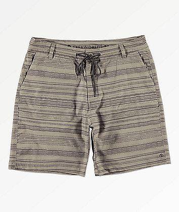 Free World Spring Tide Print Khaki Hybrid Board Shorts