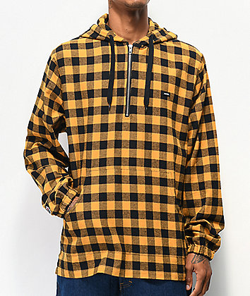 Globe Zip It Yellow Plaid Hooded Flannel Shirt