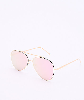 Gold & Pink Mirror Aviator Sunglasses
