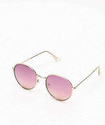 Gold & Purple Round Lens Sunglasses