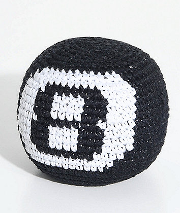 Guatemalart 8 Ball Black Hacky Sack