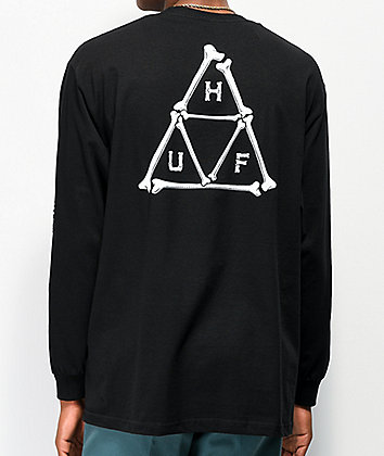 HUF Boned Triple Triangle Black Long Sleeve T-Shirt