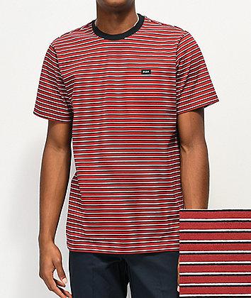 HUF Davis Red & Black Stripe Knit T-Shirt