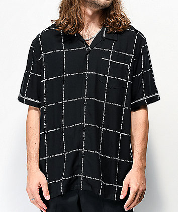 HUF Fuck It Black Short Sleeve Button Up Shirt