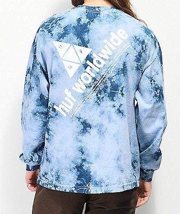 HUF Peak Logo Script Blue Washed Long Sleeve T-Shirt