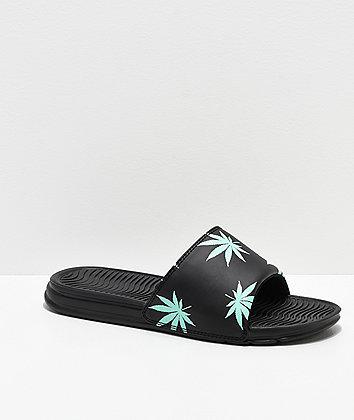 HUF Plant Life Black & Mint Green Slide Sandals