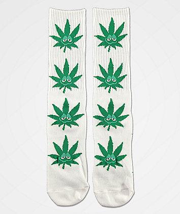 HUF Plantlife Green Buddy White Crew Socks