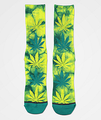 HUF Plantlife Quetzal Green Tie Dye Crew Socks
