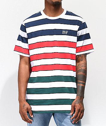 HUF Variant Striped White Knit T-Shirt