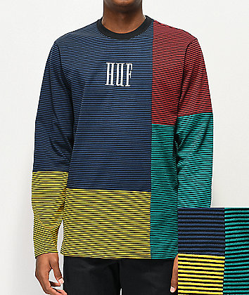 HUF Vilmos Blue, Green & Yellow Colorblock Stripe Knit Long Sleeve T-Shirt