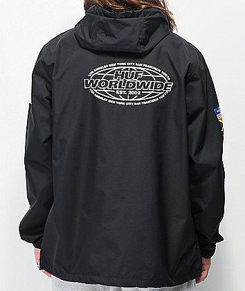 HUF Worldwide Tour Black Anorak Jacket
