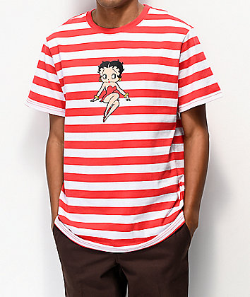 HUF x Betty Boop Red & White Striped Knit T-Shirt