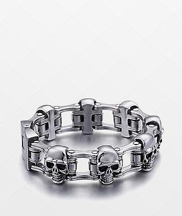 Half Hearted Skull Bike Link Stainless Steel Bracelet