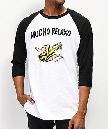 Happy Hour Mucho Relaxo White Raglan Baseball T-Shirt