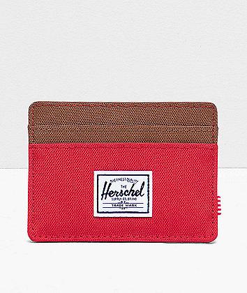 Herschel Supply Co. Charlie Red & Saddle Brown Cardholder Wallet