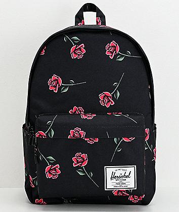 Herschel Supply Co. Classic XL Rose Print & Black Backpack
