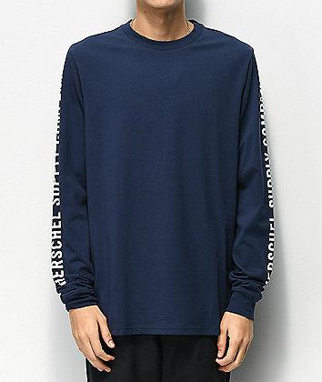 Herschel Supply Co. Sleeve Print Navy & White Long Sleeve T-Shirt