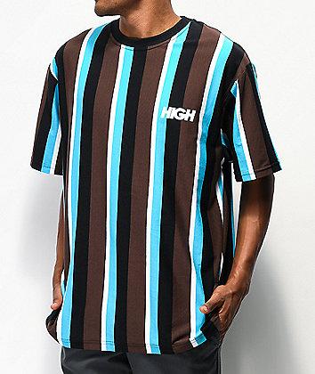 High Company Kidz Brown & Blue Vertical Stripe T-Shirt