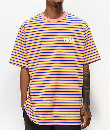 High Company Kidz Pink & Blue Striped T-Shirt