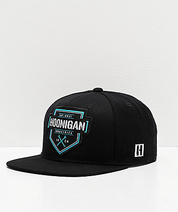 Hoonigan Bracket X Black & Cyan Strapback Hat