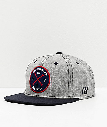 Hoonigan Hits V2 Grey & Navy Snapback Hat